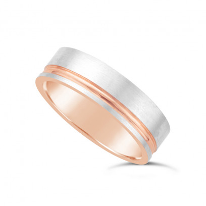 9ct Rose Gold Gents Wedding Ring, With A Brushed 9ct White Onlay With A 1.5mm Diamond Cut Concave Groove To One Side Of Wedding Rings
